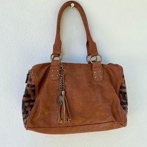 ROXY vegan leather tan and black handbag
